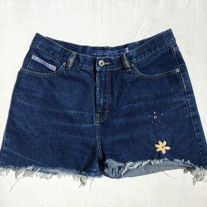 Embroidered High Rise Vintage Denim Shorts